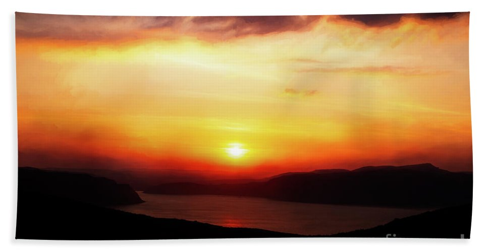 Sunset Beach Towel featuring the photograph Sunsetting Over Portree, Isle Of Skye, Scotland No.2. by Phill Thornton