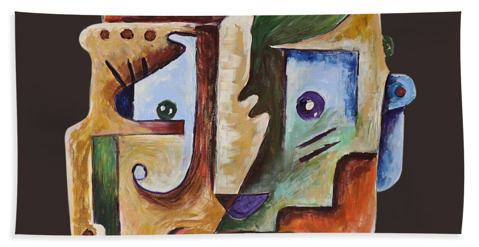 Surrealismo Beach Sheet featuring the painting Surrealism Head by Sotuland Art