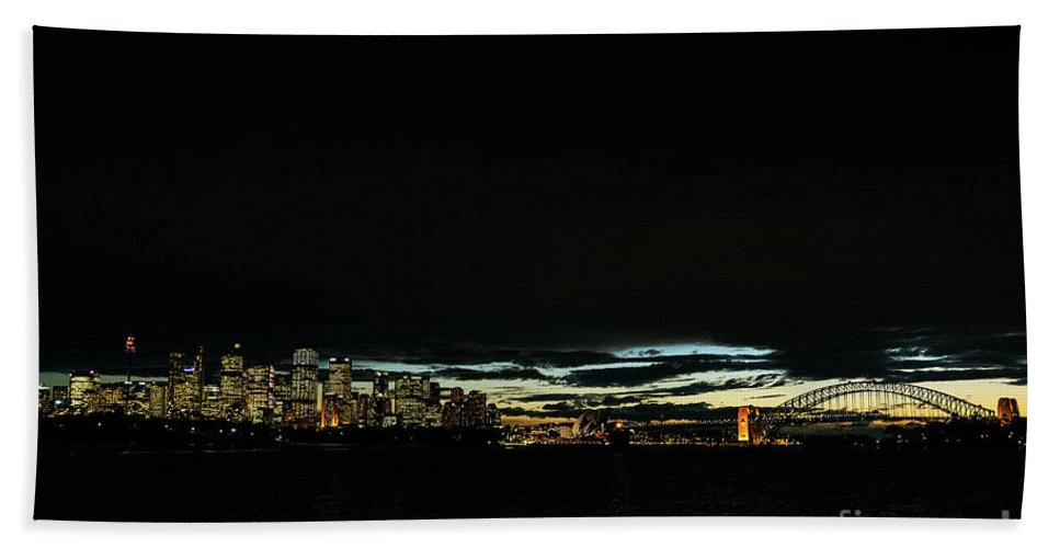 Architecture Beach Towel featuring the photograph Sydney City Harbour Sunset Skyline In Australia by Jacek Malipan