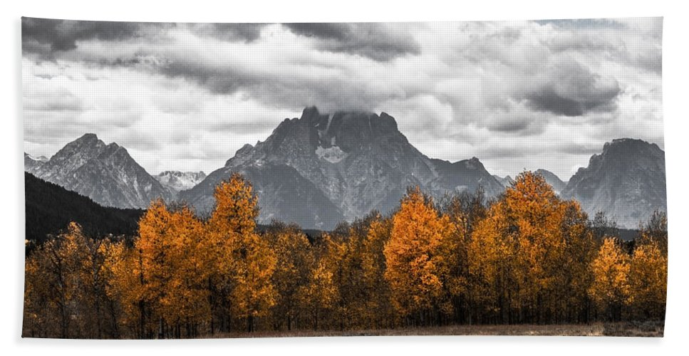 Mountain Beach Towel featuring the photograph Teton Fall - Modern View Of Mt Moran In Grand Tetons by Sean Ramsey