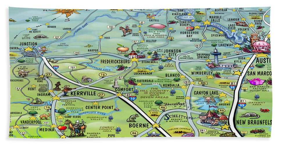 Texas Hill Country Cartoon Map Beach Towel for Sale by Kevin Middleton