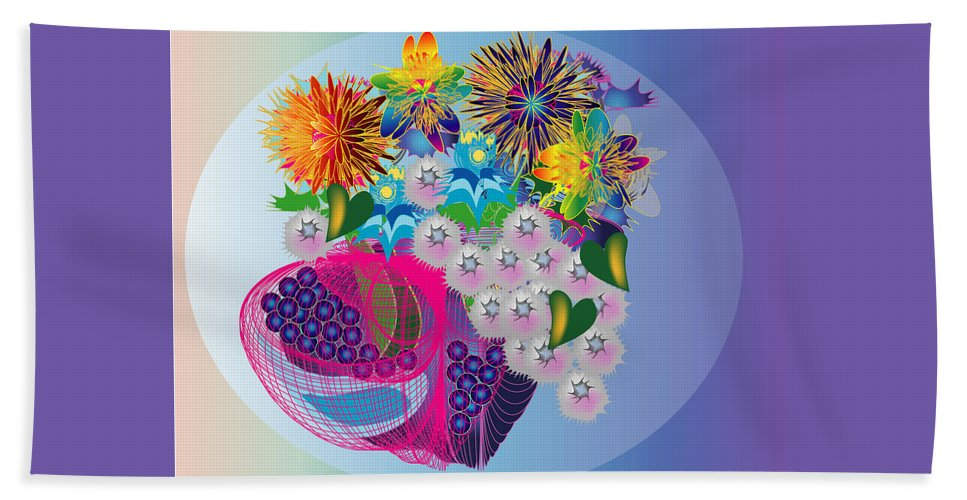 Flowers Beach Towel featuring the digital art The Arrangement by George Pasini