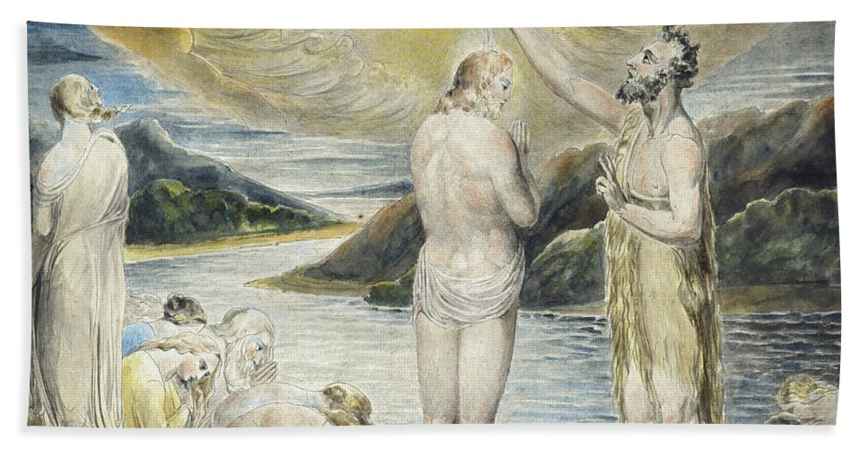 The Baptism Of Christ Beach Towel featuring the painting The Baptism Of Christ by William Blake