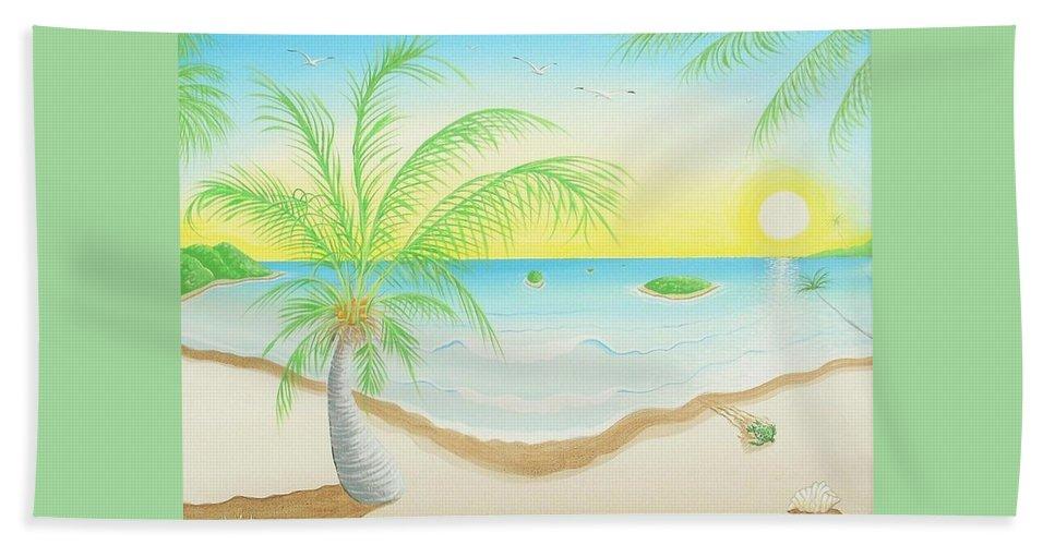 Caribbean Art/puerto Rican Art/seascape Art Beach Towel featuring the painting The Beach by Jose Guerrido jr