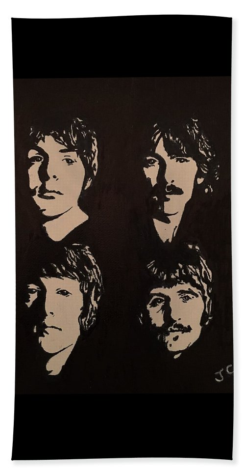 Beatles Beach Towel featuring the painting The Beatles by John Cunnane
