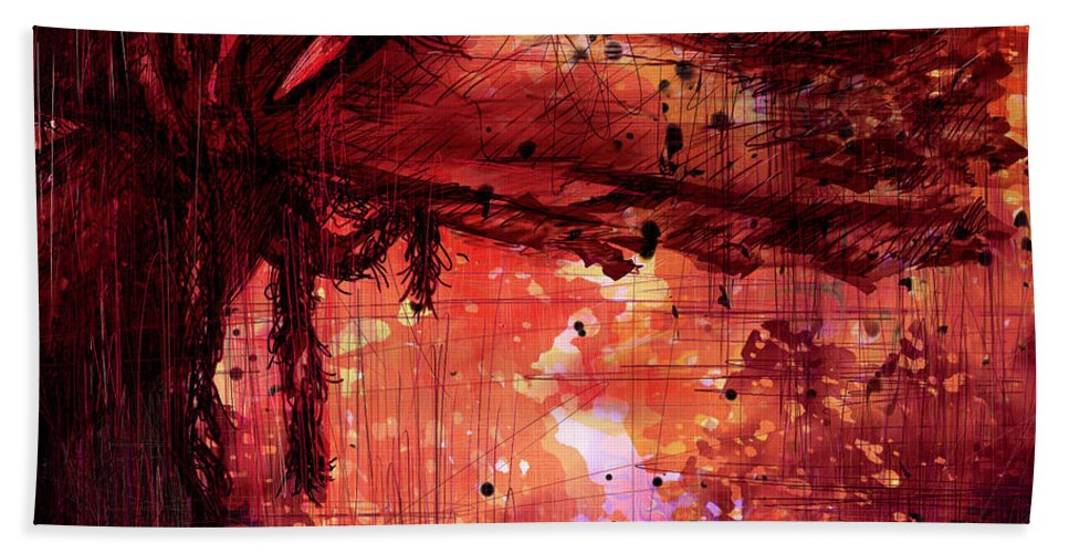 Abstract Beach Towel featuring the digital art The Beloved by Rachel Christine Nowicki