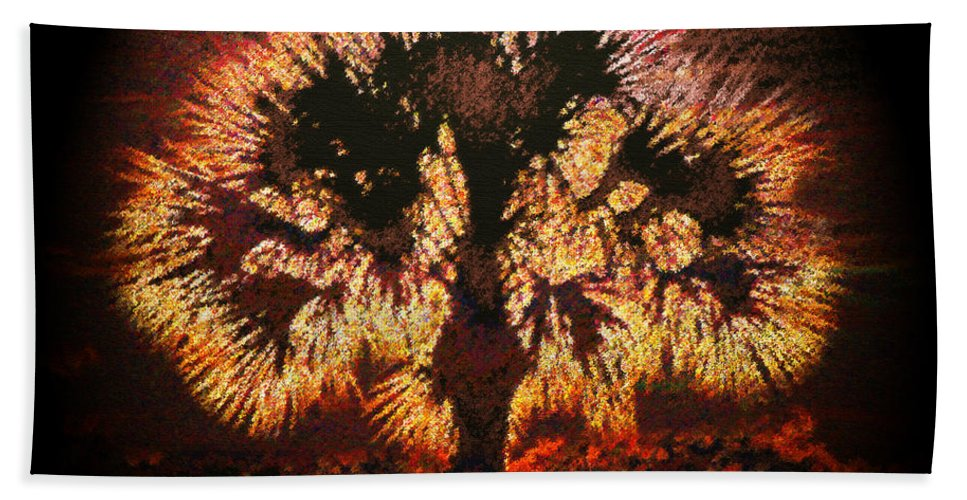 Art Beach Towel featuring the painting The Burning Bush by David Lee Thompson