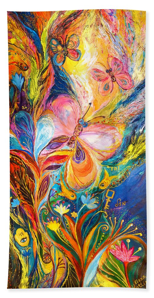 Original Beach Towel featuring the painting The Butterflies by Elena Kotliarker