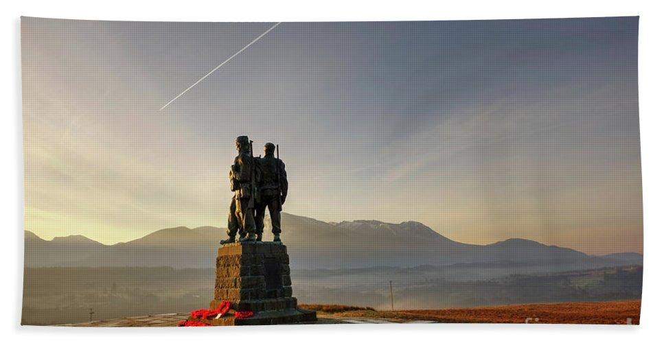 Spean Bridge Beach Towel featuring the photograph The Commando Memorial, Spean Bridge Scotland by Alba Photography