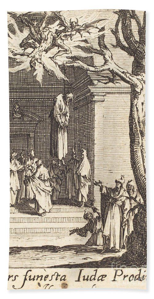 Beach Towel featuring the photograph The Death Of Judas by Jacques Callot