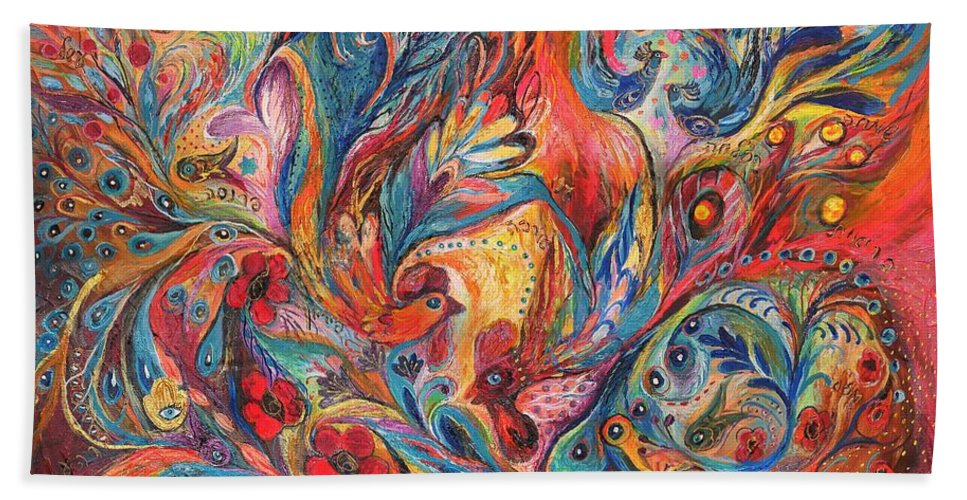 Original Beach Towel featuring the painting The Duel by Elena Kotliarker