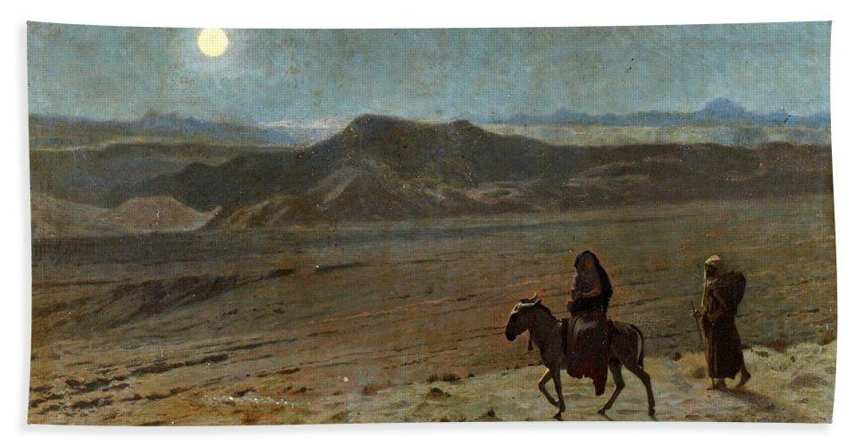 Jean-leon Gerome Beach Towel featuring the painting The Flight Into Egypt by Jean-Leon Gerome