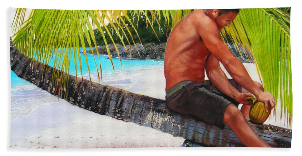 Male Figure Beach Towel featuring the painting The Gatherer by Denny Bond