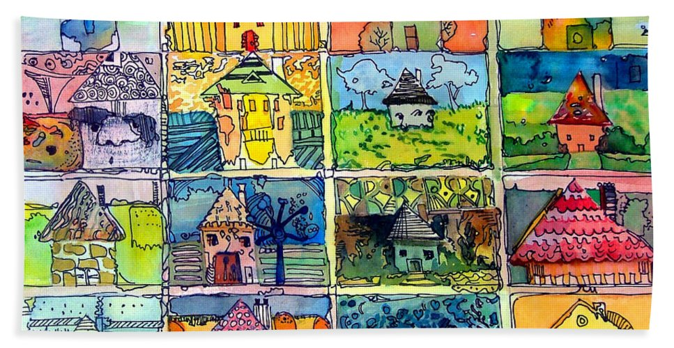 Houses Beach Towel featuring the painting The Little Houses by Mindy Newman