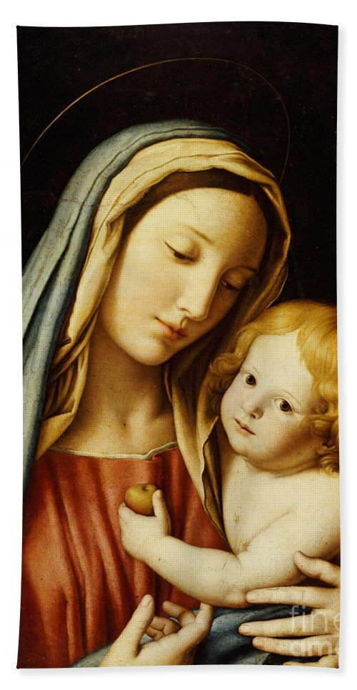Mary Beach Towel featuring the painting The Madonna And Child by Il Sassoferrato
