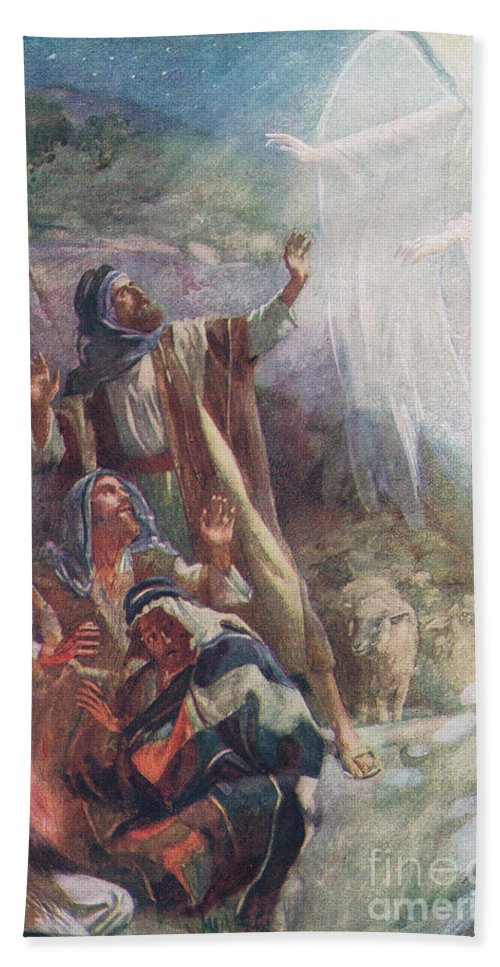 Angel Beach Towel featuring the painting The Nativity 1 by Harold Copping