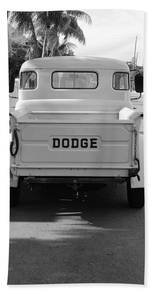 Black And White Beach Towel featuring the photograph The Old Dodge by Rob Hans