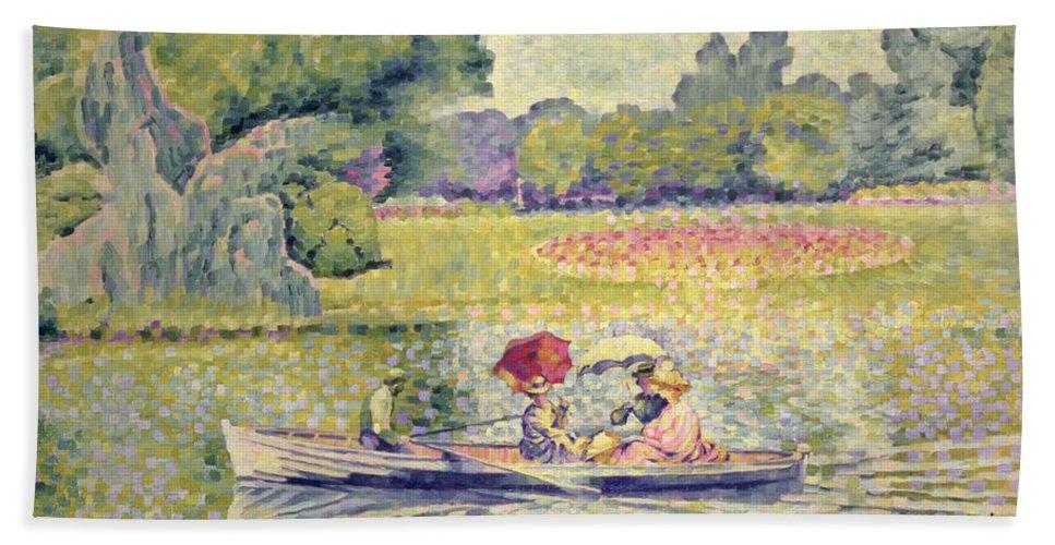 The Promenade In The Bois De Boulogne Beach Towel featuring the painting The Promenade In The Bois De Boulogne by Henri-Edmond Cross
