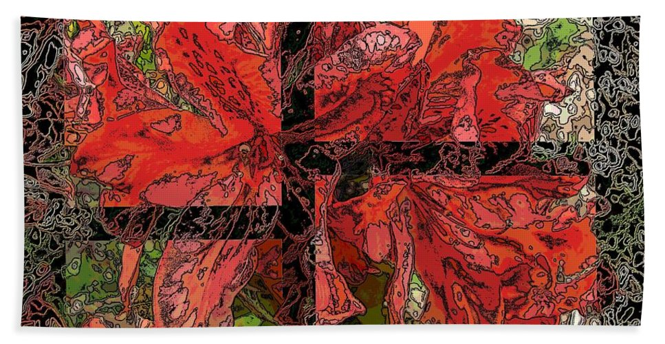 Abstract Beach Towel featuring the digital art The Rhody 02 by Tim Allen