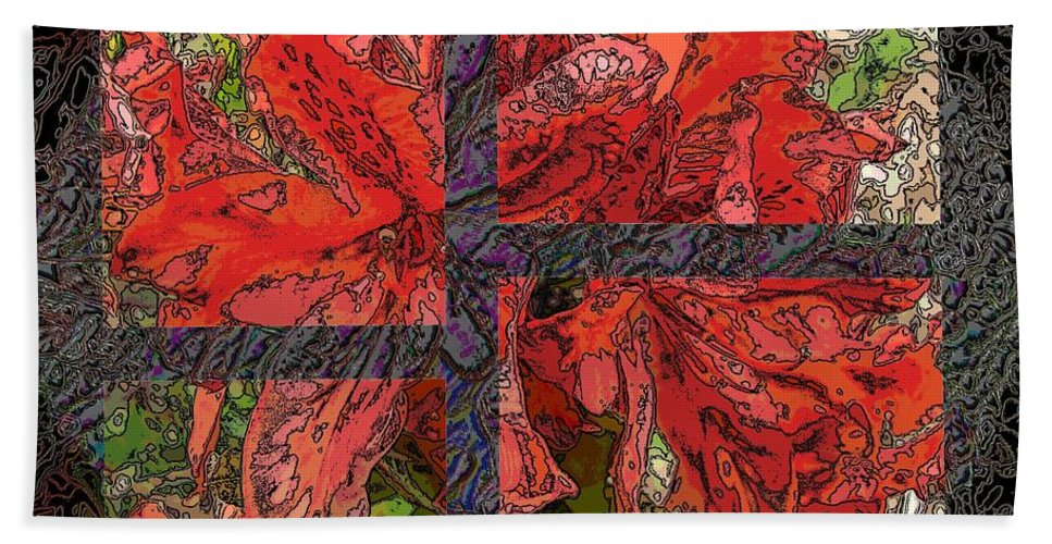Abstract Beach Towel featuring the digital art The Rhody 04 by Tim Allen