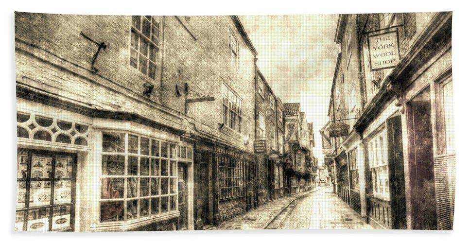 York Vintage Beach Towel featuring the photograph The Shambles York Vintage by David Pyatt