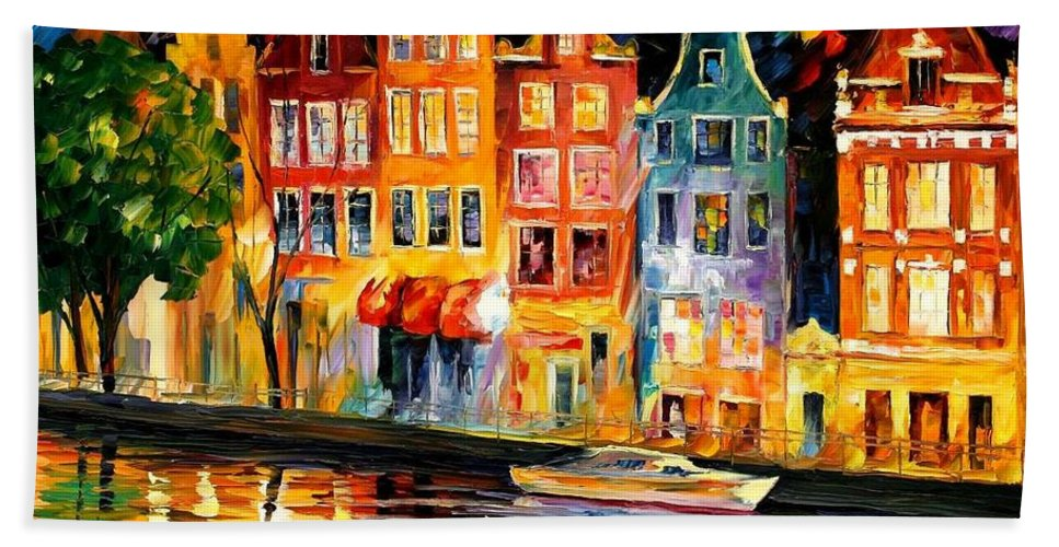 Afremov Beach Towel featuring the painting The Sky Of Amsterdam by Leonid Afremov