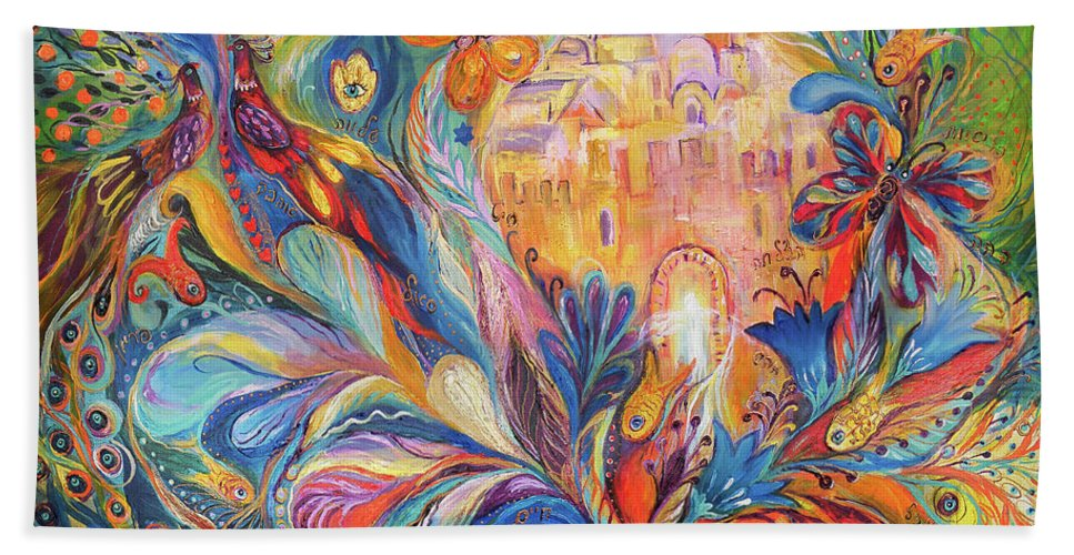 Original Beach Towel featuring the painting The Spirit Of Jerusalem by Elena Kotliarker