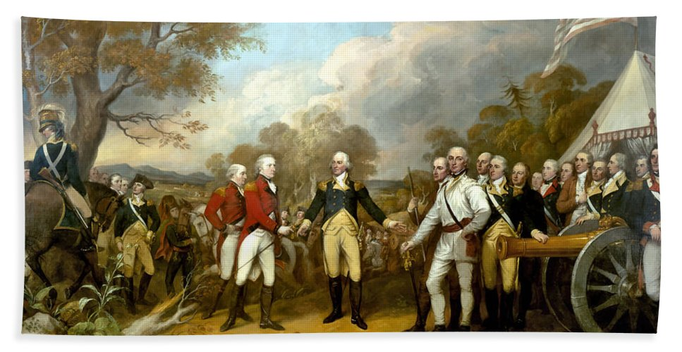 Revolutionary War Beach Towel featuring the painting The Surrender Of General Burgoyne 3 by War Is Hell Store