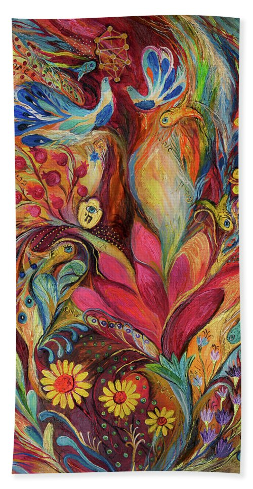 Original Beach Towel featuring the painting The Tree Of Life by Elena Kotliarker