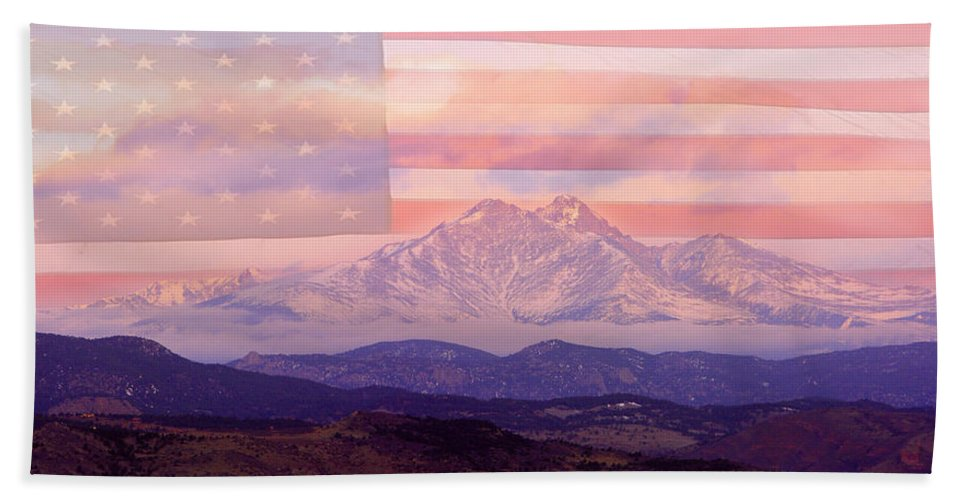 Longs Peak Beach Towel featuring the photograph The Twin Peaks - 9-11 Tribute by James BO Insogna