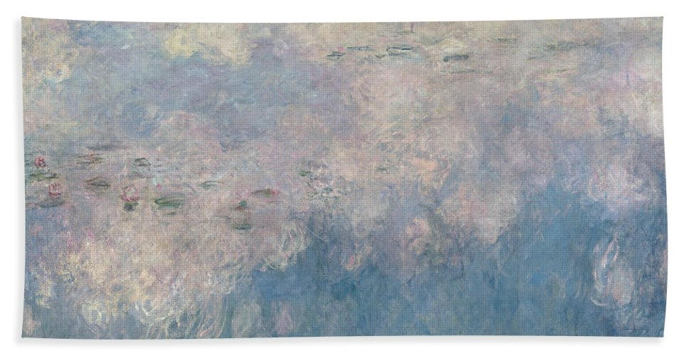 Monet Beach Towel featuring the painting The Waterlilies The Clouds by Claude Monet