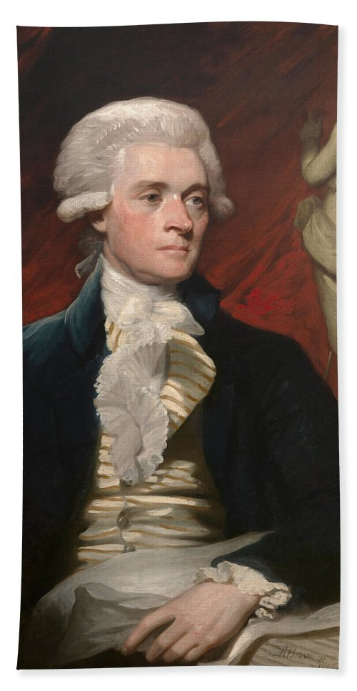 Mather Brown Beach Towel featuring the painting Thomas Jefferson by Mather Brown