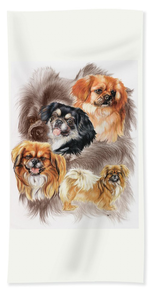 Toy Group Beach Towel featuring the mixed media Tibetan Spaniel W/ghost by Barbara Keith
