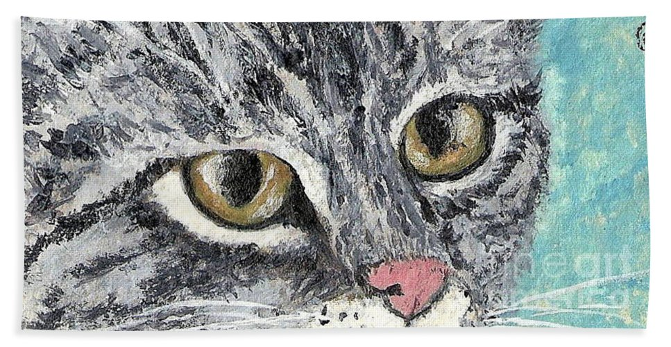 Cats Beach Towel featuring the painting Tiger Cat by Reina Resto