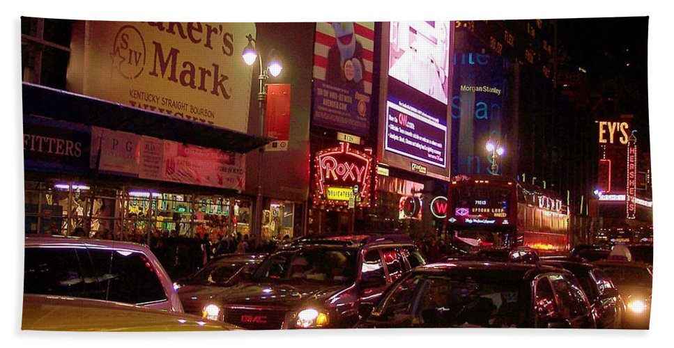 New York Beach Towel featuring the photograph Times Square Night by Debbi Granruth