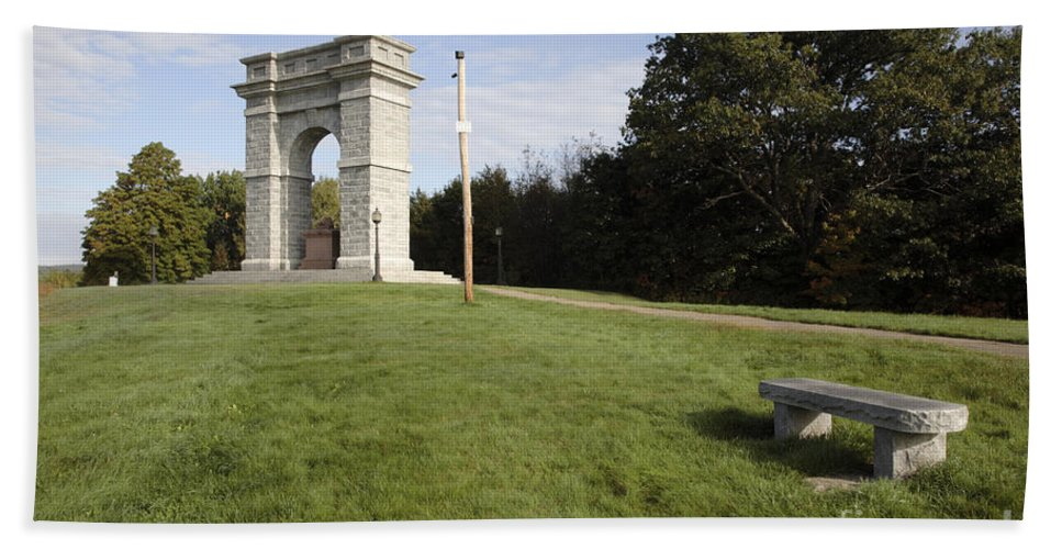 Granite Beach Towel featuring the photograph Titus Arch Replica - Northfield Nh Usa by Erin Paul Donovan