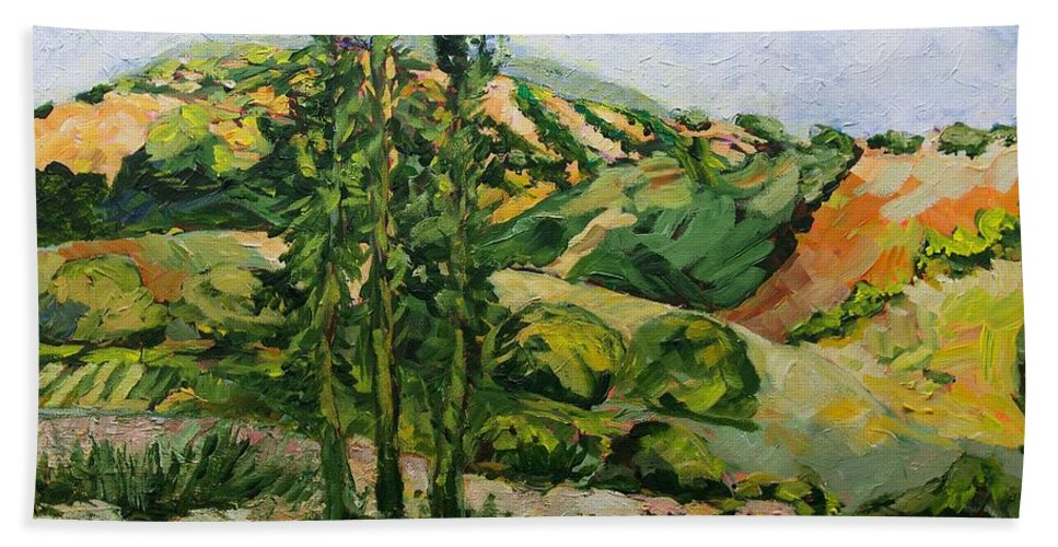 Landscape Beach Towel featuring the painting Top of the Hill by Allan P Friedlander