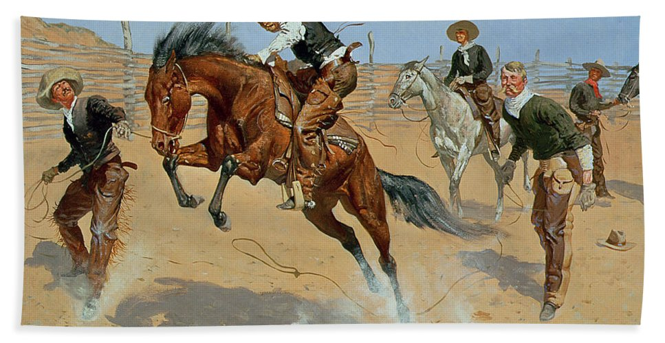 Turn Him Loose Beach Towel featuring the painting Turn Him Loose by Frederic Remington