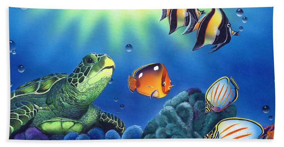 Turtle Beach Towel featuring the painting Turtle Dreams by Angie Hamlin