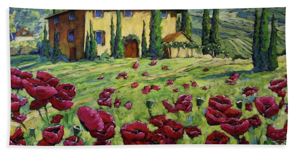 Art Beach Sheet featuring the painting Tuscan Poppies by Richard T Pranke
