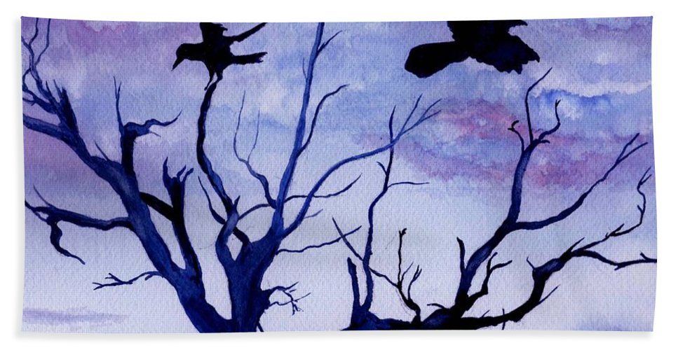 Watercolor Landscape Birds Raven Crow Flight Tree Sunset Sky Blue Clouds Scenic Beach Towel featuring the painting Twilight Flight by Brenda Owen