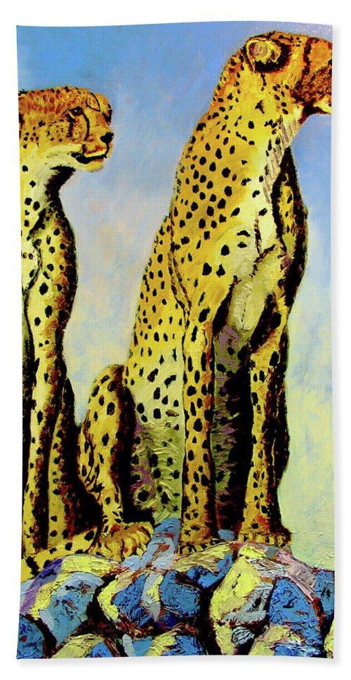 Cheetahs Beach Towel featuring the painting Two Cheetahs by Stan Hamilton