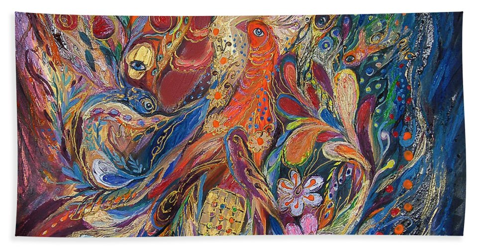 Original Beach Towel featuring the painting Two Elements by Elena Kotliarker