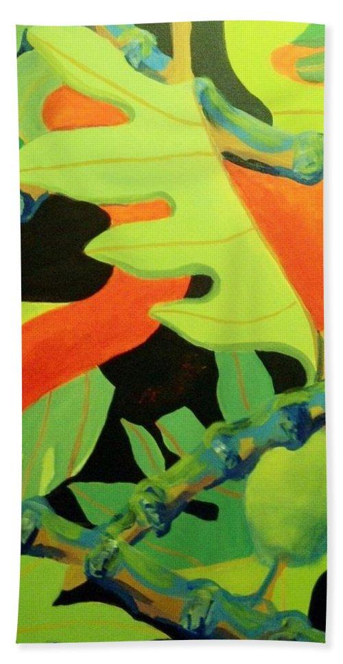Hawaiian Art Beach Towel featuring the painting Ulu 1 by Jamie Laniakea Clark