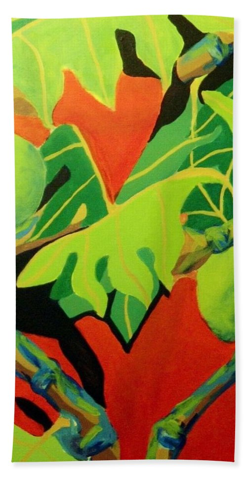 Modern Beach Towel featuring the painting Ulu 2 by Jamie Laniakea Clark