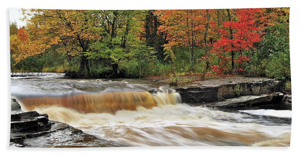 Michigan Beach Towel featuring the photograph Unnamed Falls by Michael Peychich