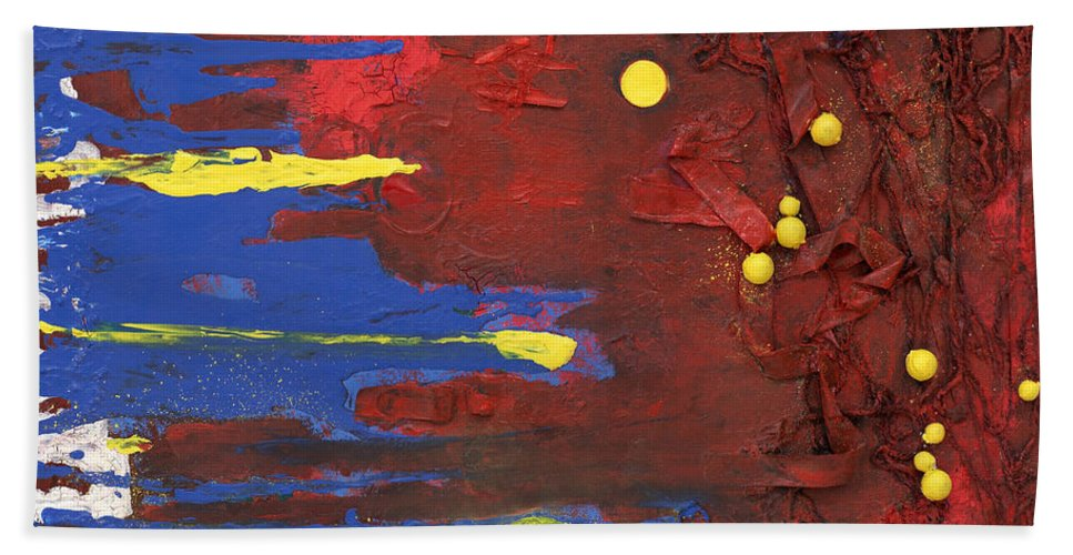 Red Beach Towel featuring the mixed media Untitled by Jaime Becker