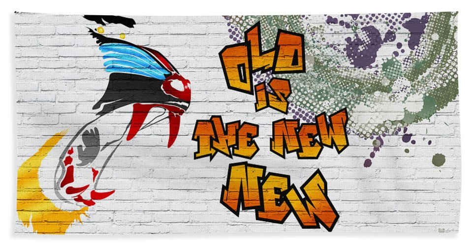 Urban Graffiti By Serge Averbukh Beach Towel featuring the photograph Urban Graffiti - Old Is The New New by Serge Averbukh