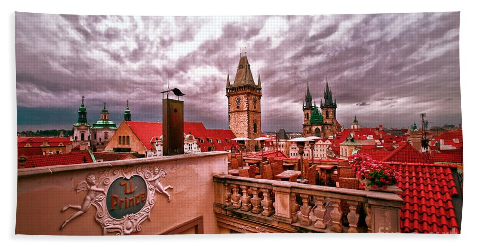 Prague Beach Towel featuring the photograph View From The Top In Prague by Madeline Ellis
