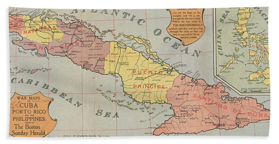 Vintage Map Of Cuba Beach Towel For Sale By CartographyAssociates - Vintage map of cuba